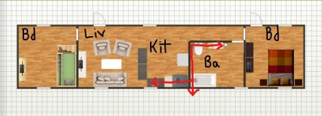 floor plan and plumbing