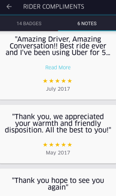 Rider ratings and compliments