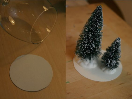 WIne glass snow globe candle holder